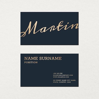 Luxury business card template in gold and blue tone with front and rear view flatlay