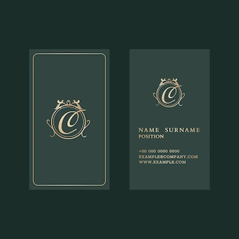 Luxury business card template in gold and green tone with front and rear view flatlay