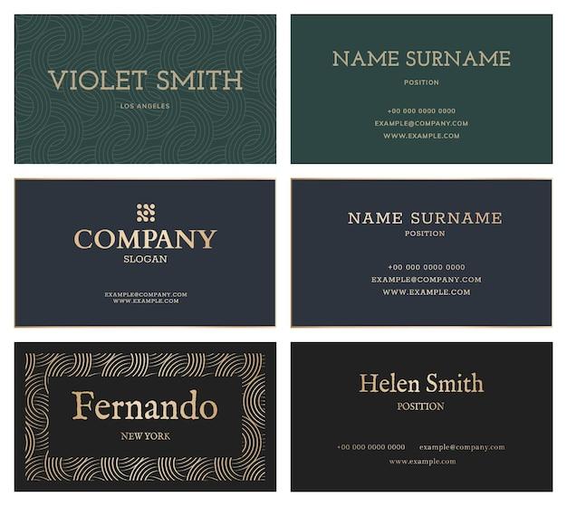 Luxury business card template set flatlay