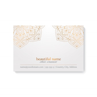 Luxury business card template with ethnic style, white and golden color