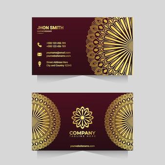 Luxury business card template with golden ornamental mandala arabesque design