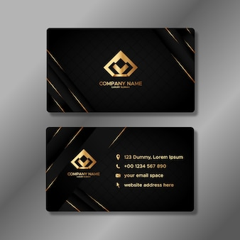 Luxury business card template with golden shapes