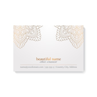 Luxury business card template with indian style, white and golden color