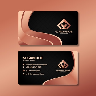 Luxury business card template with rose gold shapes