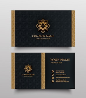 Luxury business card with gold vintage floral ornamental logo and place for text
