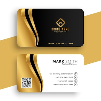 Luxury business card with golden wave