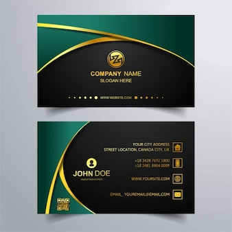 Luxury business card with green background