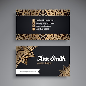 Luxury business card with mandala decoration