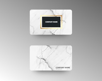 Luxury business cards with marble texture and gold