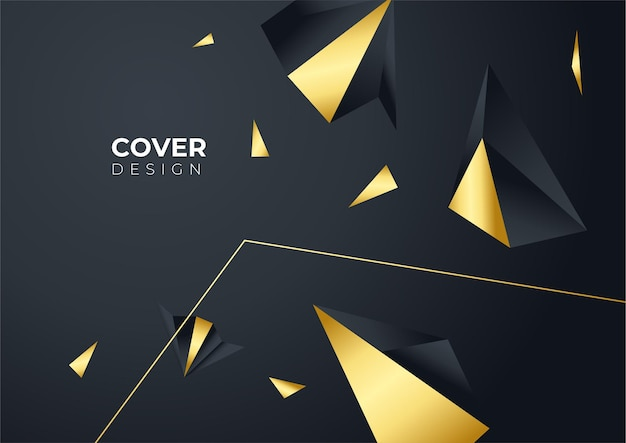 Luxury business cover background, abstract decoration, golden pattern, halftone gradients, 3d vector illustration. black gold cover template, geometric shapes, modern minimal banner