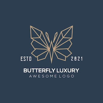 Luxury butterfly line logo illustration gold color for the company