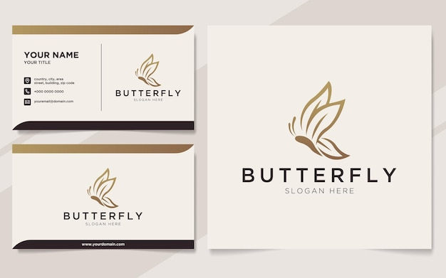 럭셔리 나비 로고와 명함 서식 파일