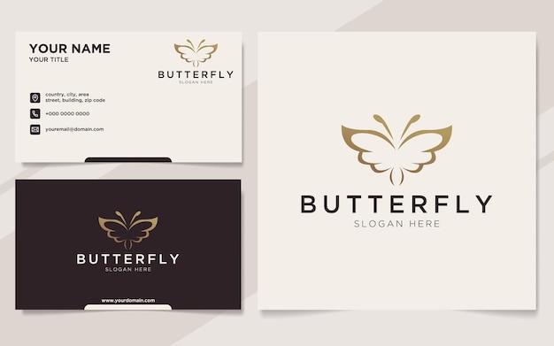 Роскошный логотип бабочки и шаблон визитной карточки