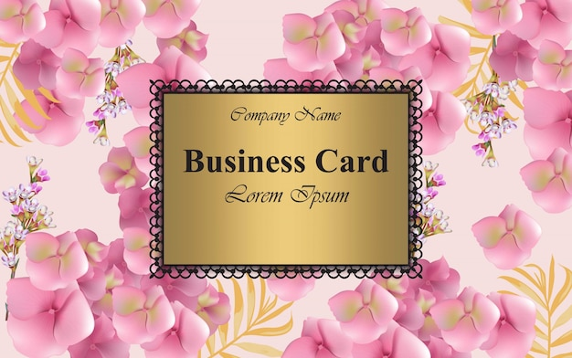 Luxury card with delicate flowers vector. beautiful illustration for brand book, business card or poster. pink background. place for texts