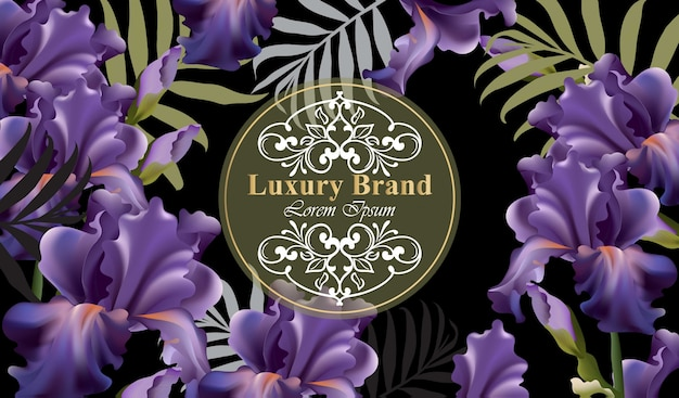 Luxury card with flowers vector. beautiful illustration for brand book, business card or poster. floral background. place for texts