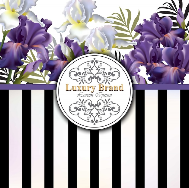 Luxury card with flowers vector. beautiful illustration for brand book, business card or poster. striped background. place for texts