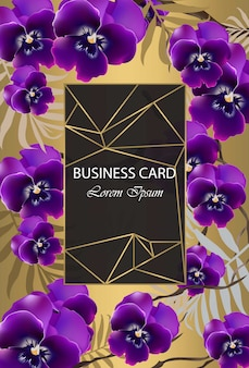 Luxury card with orchid flowers vector. beautiful illustration for brand book, business card or poster. gold background. place for texts