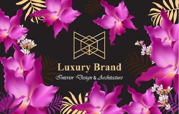 Luxury card with orchid flowers vector. beautiful illustration for brand book, business card or poster. pink background. place for texts