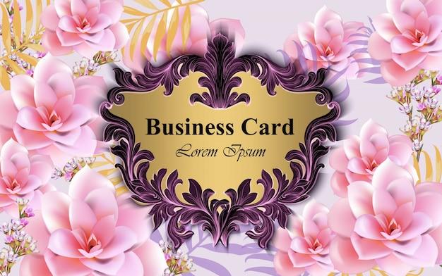 水ユリの花のラグジュアリーカードベクトル。ブランドブック、名刺、ポスターのための美しいイラスト。ピンクの背景。テキストのための場所
