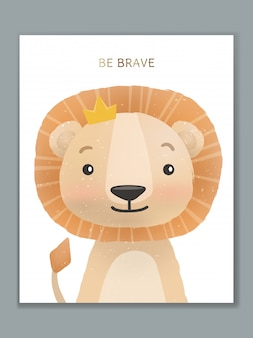 Luxury cartoon animal illustration card design for birthday celebration, welcome, event invitation or greeting. lion king.