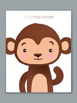 誕生日のお祝い、歓迎、イベントの招待状や挨拶の高級漫画動物イラストカードデザイン。生意気な猿。