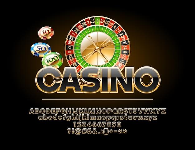 Роскошная эмблема казино с колесом рулетки и фишками. набор королевского золотого и черного алфавита