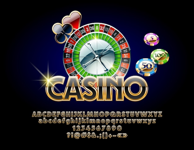 Luxury casino emblem with roulette wheel and chips. set of chic golden and black alphabet