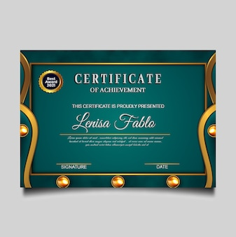 Luxury certificate achievement green