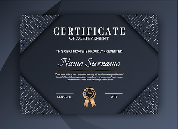 Luxury certificate of achievement template. modern diploma design