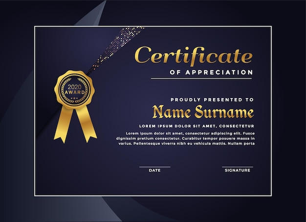 Luxury certificate achievement template
