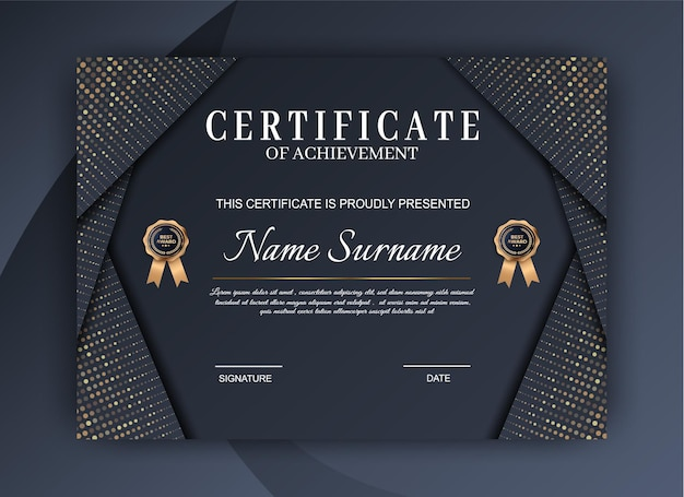 Luxury certificate of achievement template