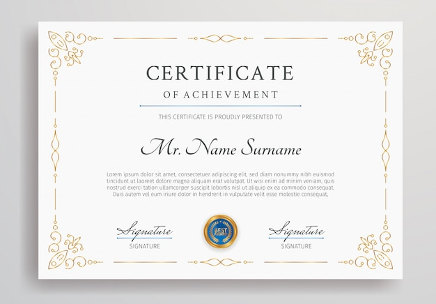 Luxury certificate border template