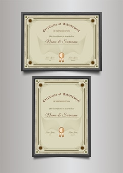 Luxury certificate template with ornamental frame in vintage style