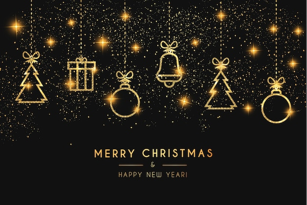 テクスチャのかわいいクリスマスゴールデンアイコンと豪華なクリスマスカード