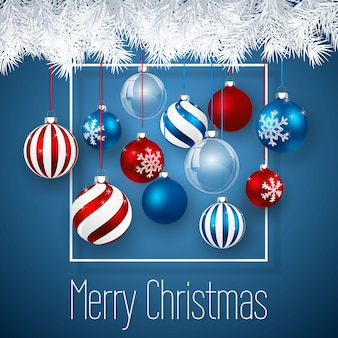 Luxury christmas design with blue red christmas balls and xmas glass ball over blue background. holiday decoration template.