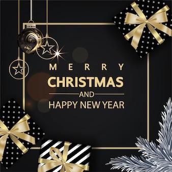 Роскошный рождественский золотой и черный фон
