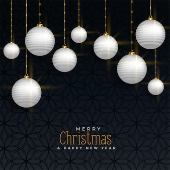 ボールを吊るして豪華なクリスマスの挨拶