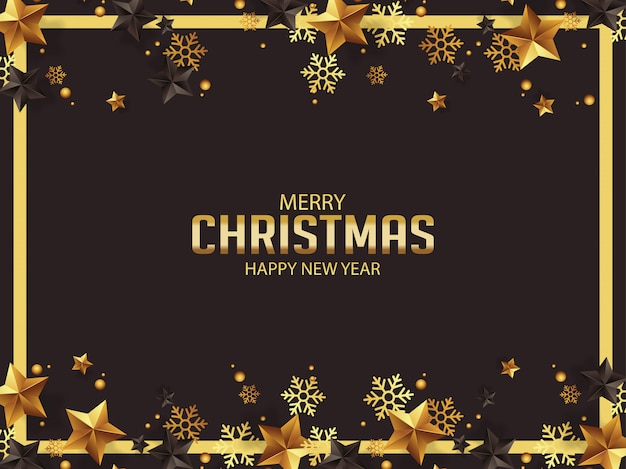 Luxury christmas greetings with gold and black stars