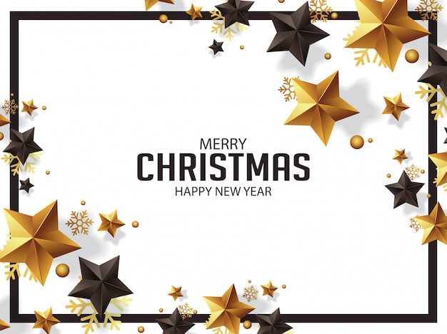 Luxury christmas greetings with golden stars illustration
