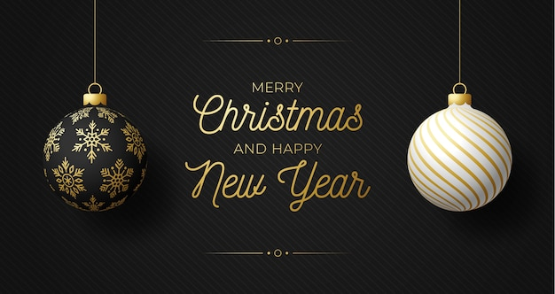 Luxury christmas and new year horizontal banner with two balls. christmas card with ornate black and white realistic balls hang on a thread on black modern background.  illustration.