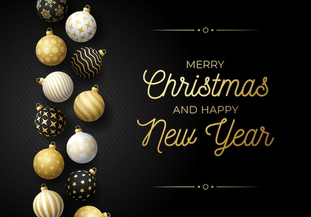 Luxury christmas and new year horizontal greeting card with tree toy border. holiday  illustration with realistic ornate black, white and golden christmas balls on black background.