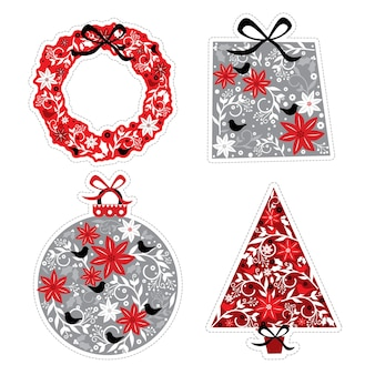 Роскошное рождественское украшение с красными и серебряными рождественскими цветочными мотивами