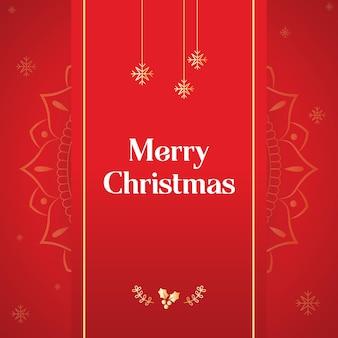 Роскошный рождественский плакат вектор с мандалой bg