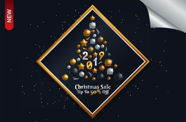 豪華なクリスマスセールの背景ポスター