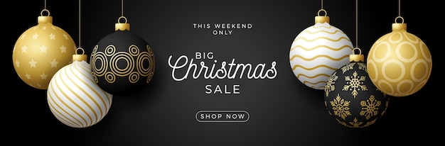 Luxury christmas sale horizontal banner. christmas card with ornate black, gold and white realistic balls hang on a thread on black modern background.  illustration. place for your text