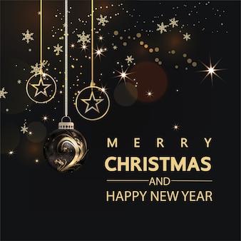 Роскошные рождественские социальные сети золотой и черный фон для продвижения