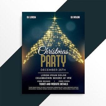 Luxury christmas sparkle tree flyer design template