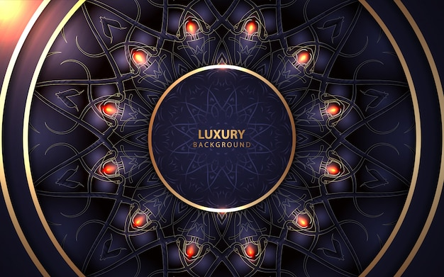Luxury circle dark blue frame with golden mandala style decoration