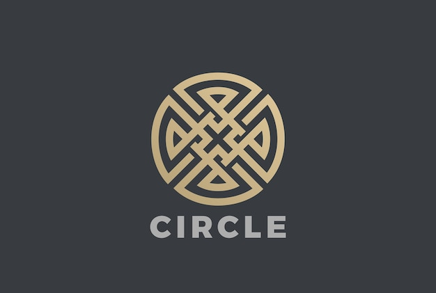Luxury circle maze cross logo  icon. linear style