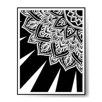 럭셔리 원형 패턴 만다라 흑백 장식